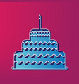 cake with candle sign blue 3d printed vector image vector image
