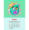 Calendar 2017 with cats October In cartoon 80s vector image vector image