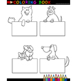 Cartoon Dogs with cards Coloring Page vector image vector image