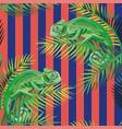 chameleon on palm leaves stripe coral blue vector image