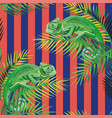 chameleon on palm leaves stripe coral blue vector image vector image