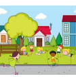 children playing at house field vector image vector image