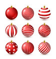 christmas tree shiny red balls set new year vector image vector image