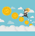 climbing on money coin stairs concrete background vector image