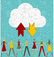 Cloud computing people over social icons set vector image vector image