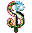 Colorful Grunge dollar symbol vector image vector image