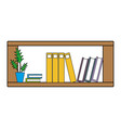 colorful office shelf with plants and folders vector image