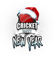 cricket ball with santa hat and happy new year vector image