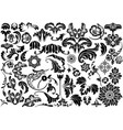 damask floral reliefs vector image vector image