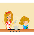 Daughter helps mother cook soup vector image vector image