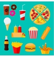 Fast food sandwiches desserts and drinks icon vector image vector image
