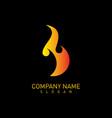 flame logo black background vector image vector image