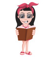 girl reading book on white background vector image vector image