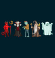 halloween ghost vampire and zombie characters vector image