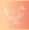 hand-drawn hen engraving stencil style vector image vector image