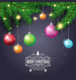 holiday decorations christmas tree branches with vector image vector image