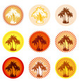 icons with palms silhouettes vector image vector image