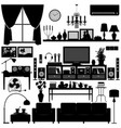 living room furniture home interior design a set vector image vector image