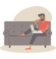 man at home working as freelancer vector image