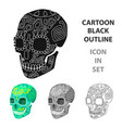 mexican calavera skull icon in cartoon style vector image