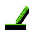 pencil sign green 3d icon vector image vector image