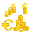 Piles gold euro isolated cartoon set vector image