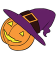 Pumpkin in witch vector image vector image