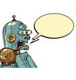 retro robot screams in fear emotions vector image
