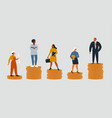 rich and poor people with different salary income vector image