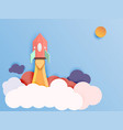 rocket ship launch paper art style start up vector image