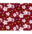 sakura flowers cherry blossom and leaves seamless vector image