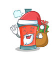 santa aerosol spray can character cartoon with vector image vector image