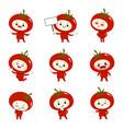 set cute tomato cartoon characters vector image vector image