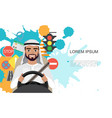 set of road symbols and driver arab men character vector image vector image