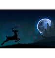 Silhouette of a deer jumping on a hill at night vector image