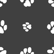 Trace dogs icon sign Seamless pattern on a gray