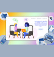 two freelance woman with laptop sitting on chair vector image vector image