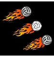 Volleyball ball flaming logo designs vector image vector image