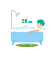 woman bathing and relaxing vector image