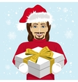young man giving christmas gift to you vector image vector image