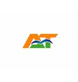 Letter a and t logo vector image