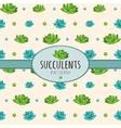 Succulents background with oval frame for text vector image