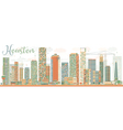 Abstract Houston Skyline with Color Buildings vector image vector image