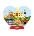 Asia travel banner with famous attractions vector image vector image