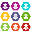 asian man in conical hat icon set color hexahedron vector image vector image