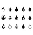 black simple drop icons vector image