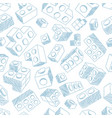 blue plastic bricks kit seamless pattern vector image vector image