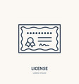 certificate patent flat line icon vector image vector image