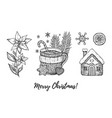 christmas hand drawn doodle icon set merry xmas vector image