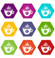 cup coffee icons set 9 vector image vector image